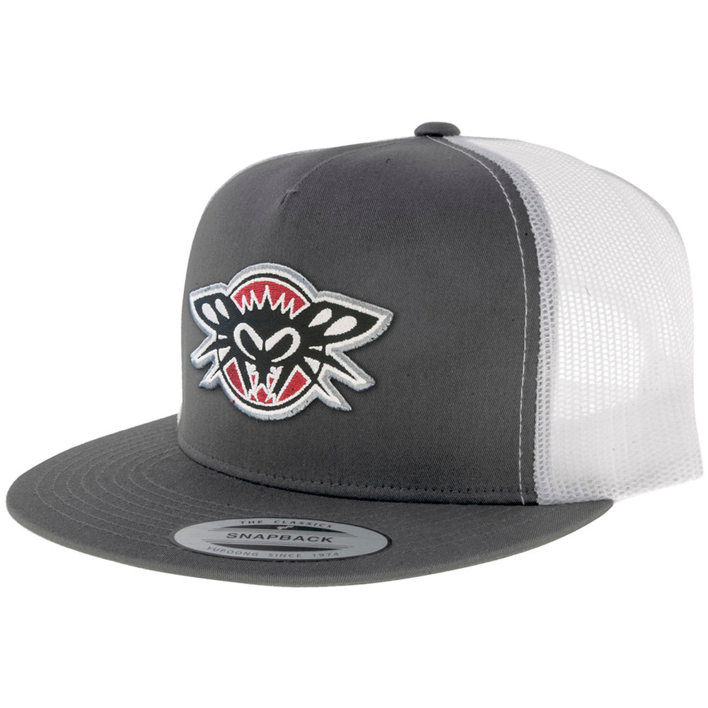 Black Flys Phantom Patch Trucker Flatbill Snapback Hat Grey/White Street Urban