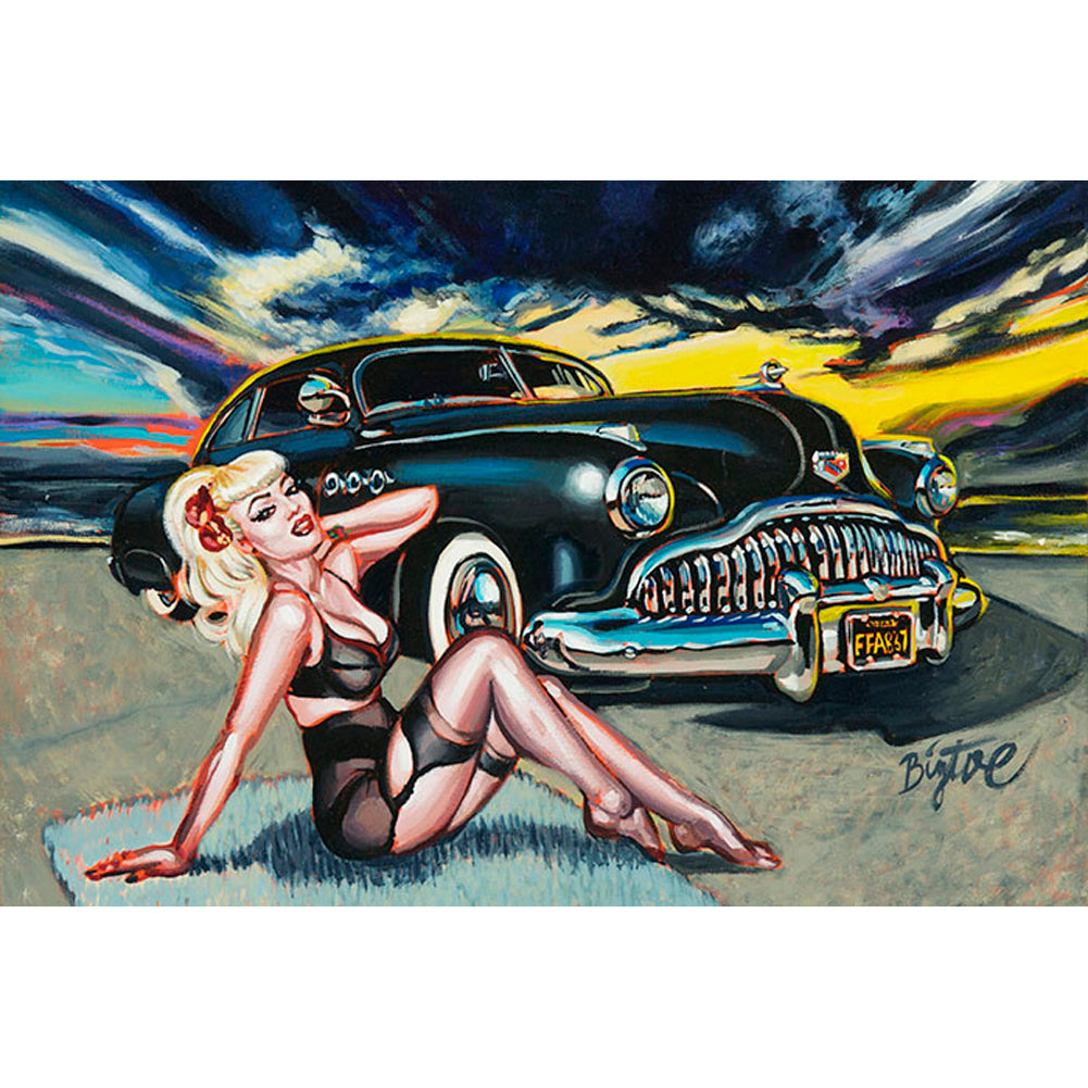Black Magic Fine Art Print by Big Toe Hot Rod Lead Sled Pinup Retro Rockabilly
