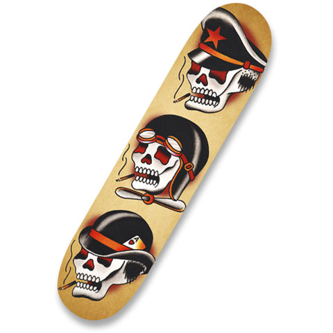 Three Hats Skateboard Deck American Traditional Tattoo Skulls