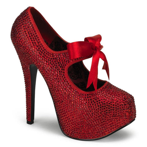 Bordello Teeze 04R Strap Heel Red Rinestones Bow Sparkles Pin Up Rockabilly