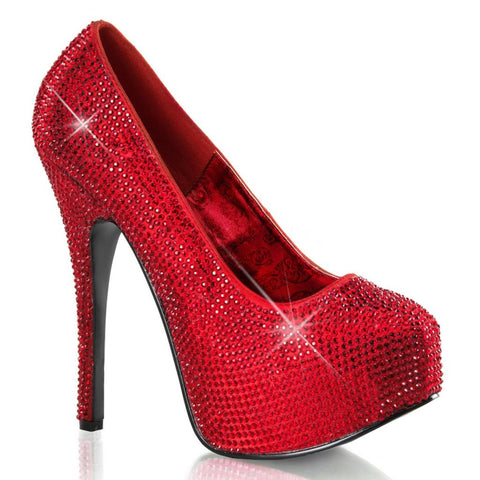 Bordello Teeze 06RW Red Satin Red Rinestones Wide Width Heel Sparkles Pin Up