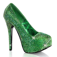 Bordello Teeze 06R Heel Green Satin Iridescent Rinestones Sparkles Pin Up