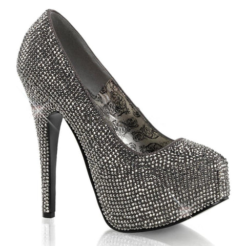 Bordello Teeze 06R Heel Grey Satin Pewter Rinestones Sparkles Pin Up