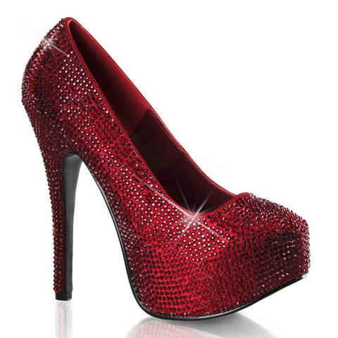 Bordello Teeze 06R Heel Ruby Red Rinestones Sparkles Pin Up