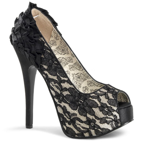Bordello Teeze 19 Peep Toe Heel Champagne Satin Black Lace Rockabilly Pinup