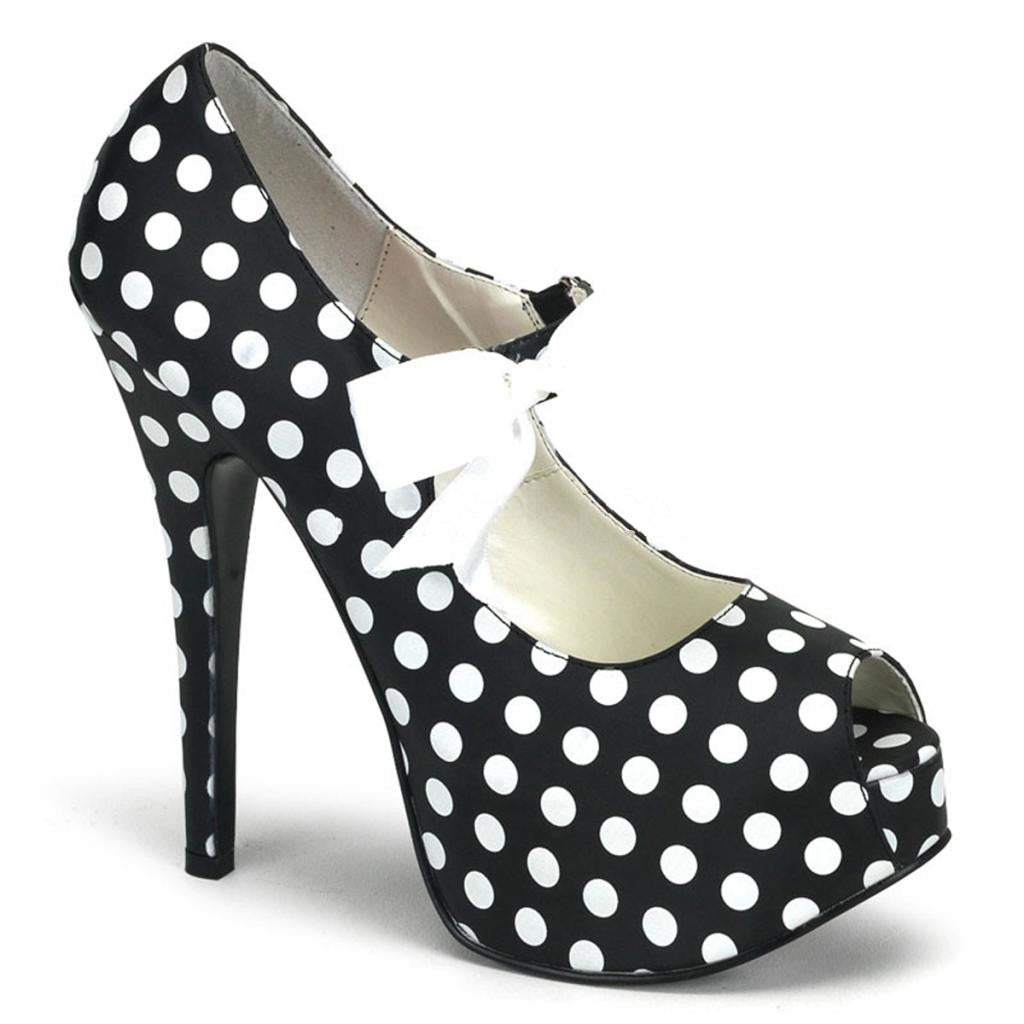 Bordello Teeze 25 Peep Toe Strap Heel Black/White Polka Dot Bow Rockabilly Pinup