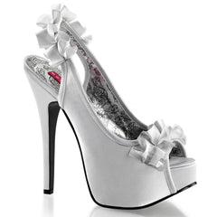 Bordello Teeze 56 Peep Toe Slingback Heel Silver Ruffles Rockabilly Pin Up