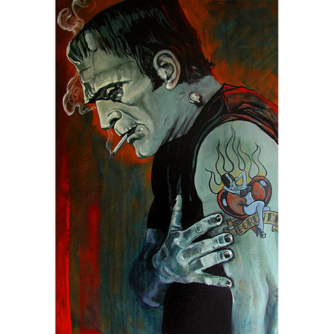 Broken Hearted Fine Art Print by Mike Bell Tattooed Frankenstein Monster Smoking