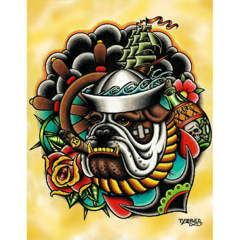 Bull Dog by Tyler Bredeweg Canvas Giclee Traditional Tattoo Nautical Anchor Ship