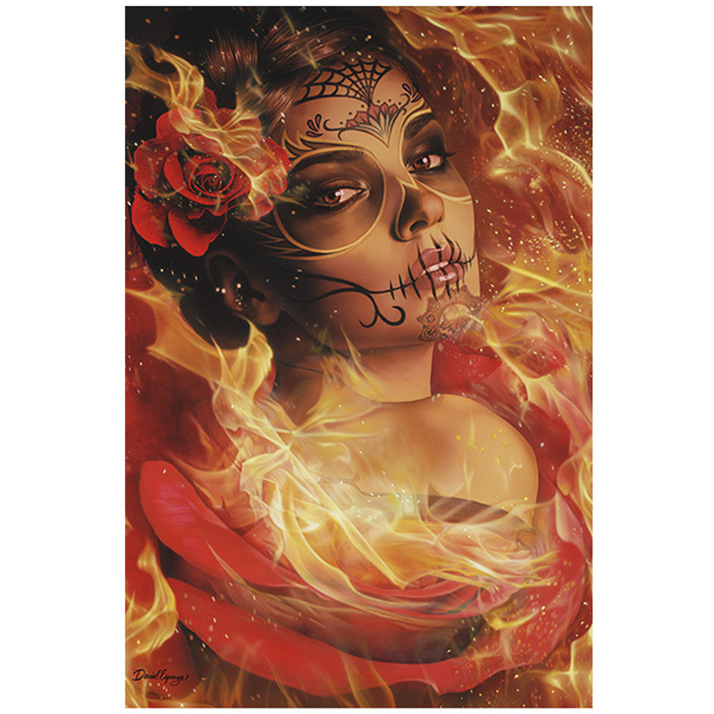 Burning Desire Fine Art Print by Daniel Esparza Day of the Dead Girl Fire