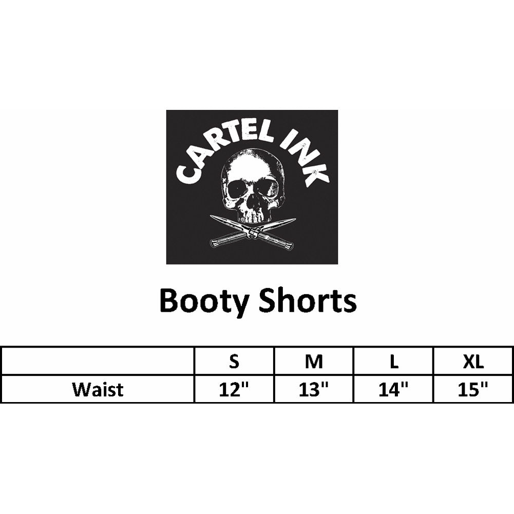Women's Cartel Ink Bless This Booty Booty Shorts Black/White Sexy