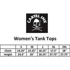 Women's Cartel Ink Global Dominance Racer Back Tank Top Black Skull Switchblades