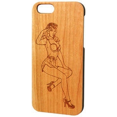 Case Worx Pin Up 2 Wood Cell Phone Case Retro Vintage Inspired Rockabilly