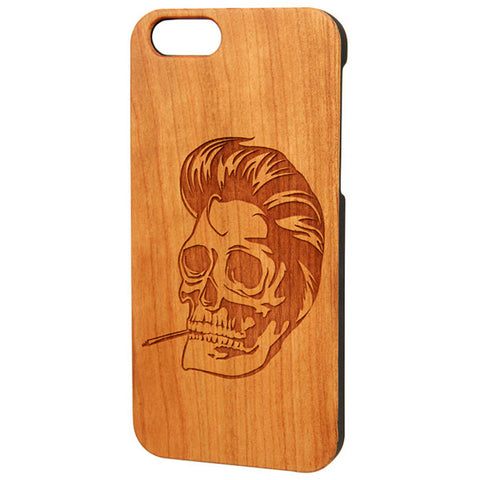 Case Worx Rockabilly Skull Wood Cell Phone Case Pompadour