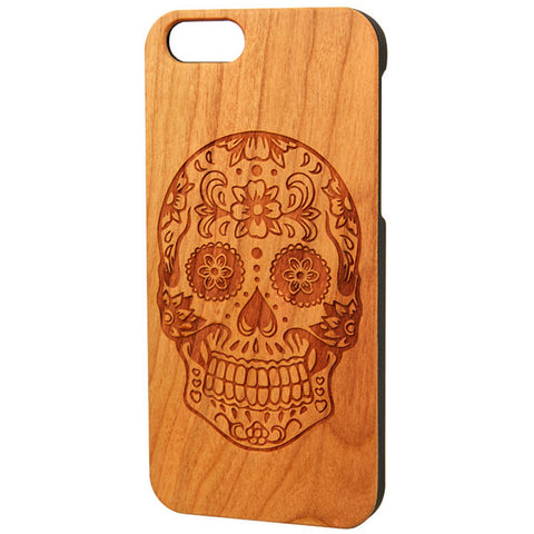 Case Worx Sugar Skull 1 Wood Cell Phone Case Day of the Dead