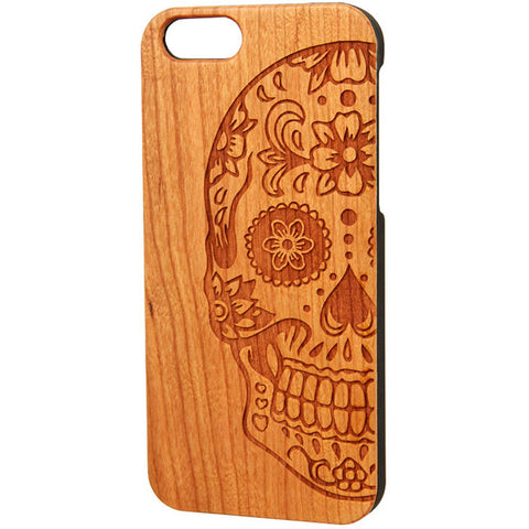 Case Worx Sugar Skull 2 Wood Cell Phone Case Day of the Dead