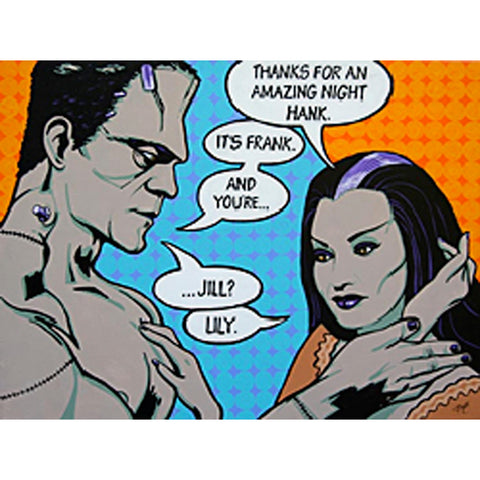 Casual Fling by Mike Bell Frankenstein Lily Munsters Cartoon Canvas Giclee