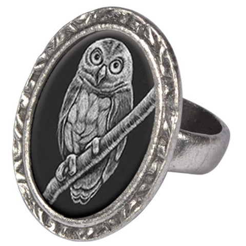 Classic Hardware Albertine Owlet Victorian Oval Ring Silver Plated Owl