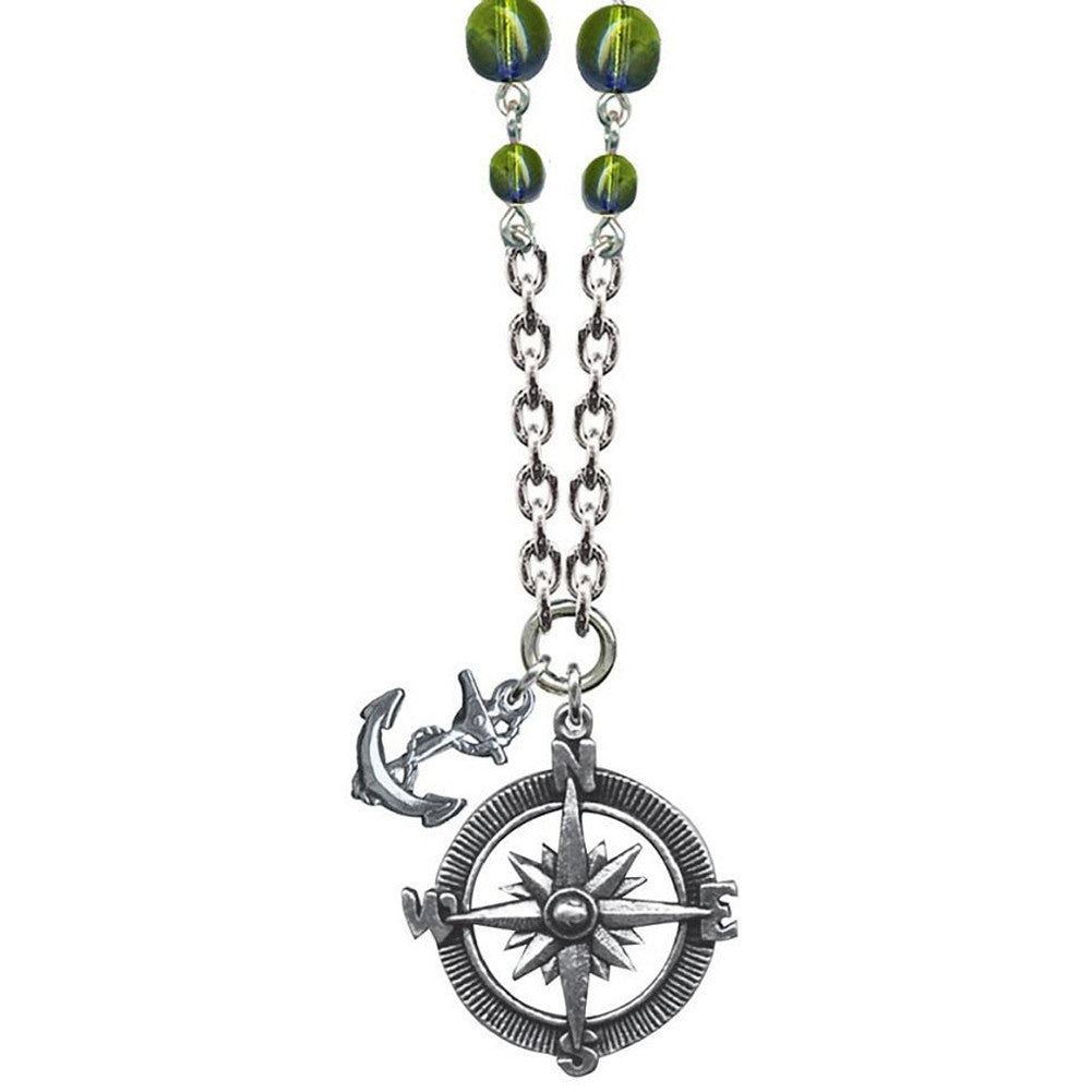 Classic Hardware Anchor Compass Sweet & Petite Necklace Green Beads Nautical