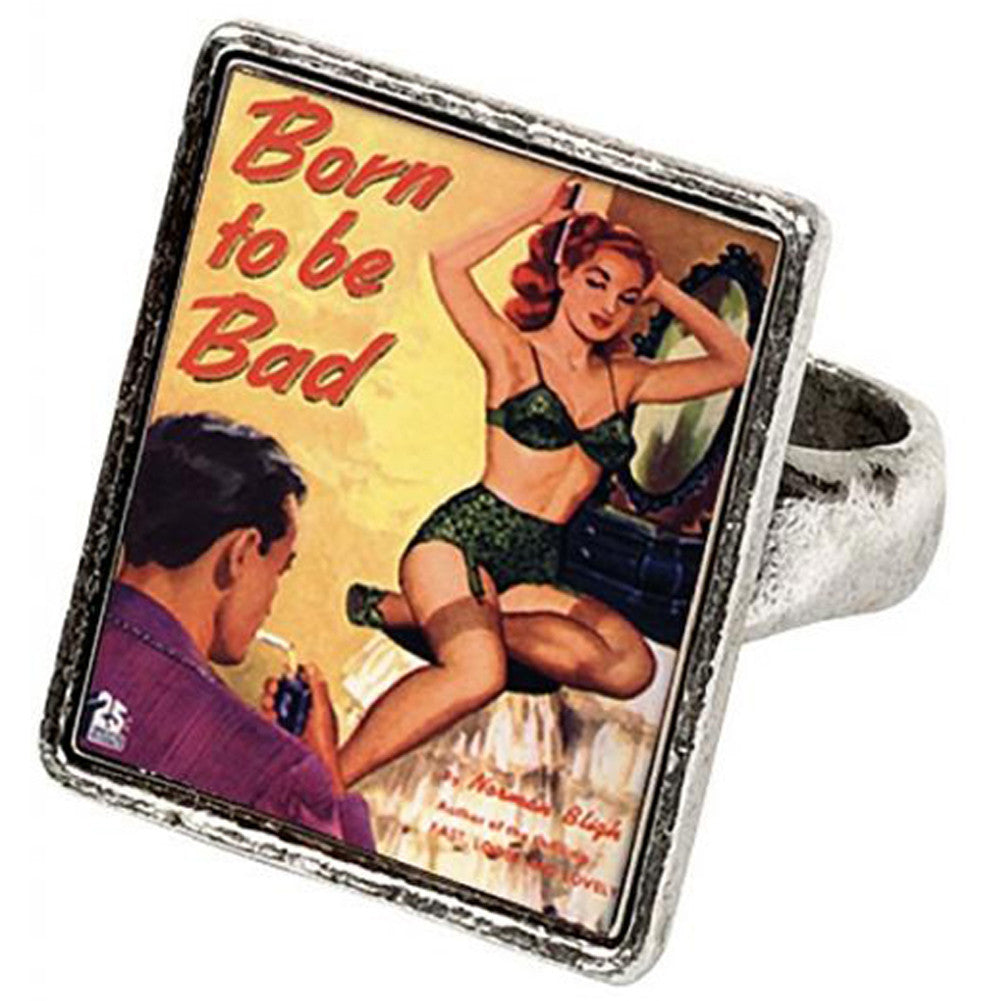 Classic Hardware Born to be Bad Vintageware Ring Retro Rockabilly Pinup