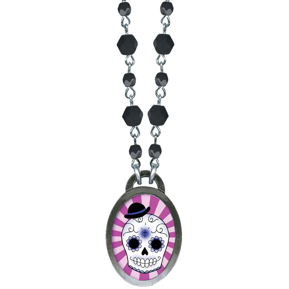 Classic Hardware Boy Skull Oval Pop Art Necklace Sugar Day of the Dead Tattoo