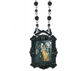 Classic Hardware Dead of Night Victorian Bowframe Necklace Black Beads