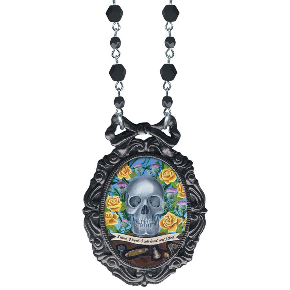 Classic Hardware Don Of The Dead Oval Bow Frame Necklace Skull Psychobilly