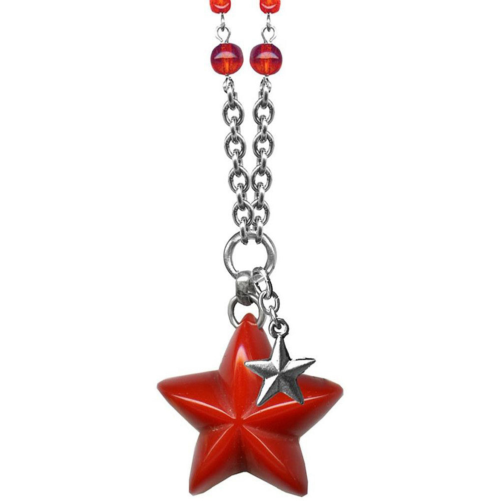 Classic Hardware Double Star Retrolite Necklace Red Beads Retro Rockabilly