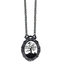 Classic Hardware Haunted Tree Classic Silhouette Necklace Silver Crow