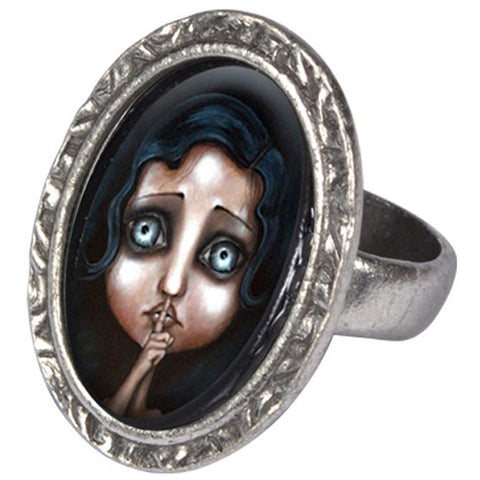 Classic Hardware Hush Victorian Oval Ring Silver Sad Girl