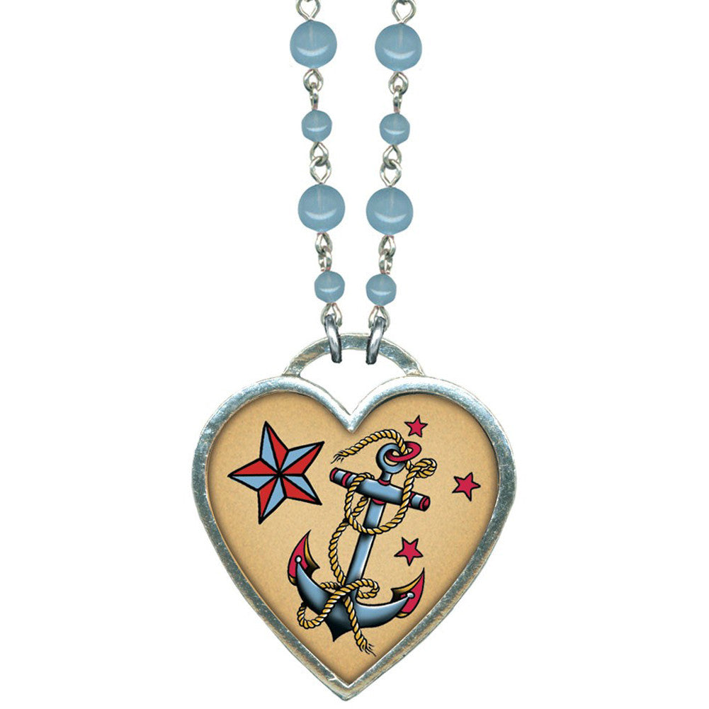 Classic Hardware Large Anchor Necklace Blue Beads Rockabilly Tattoo Nautical