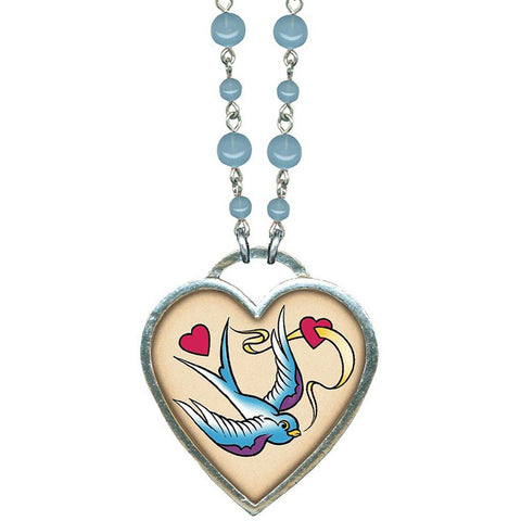Classic Hardware Large Bird and Heart Necklace Blue Beads Rockabilly Tattoo