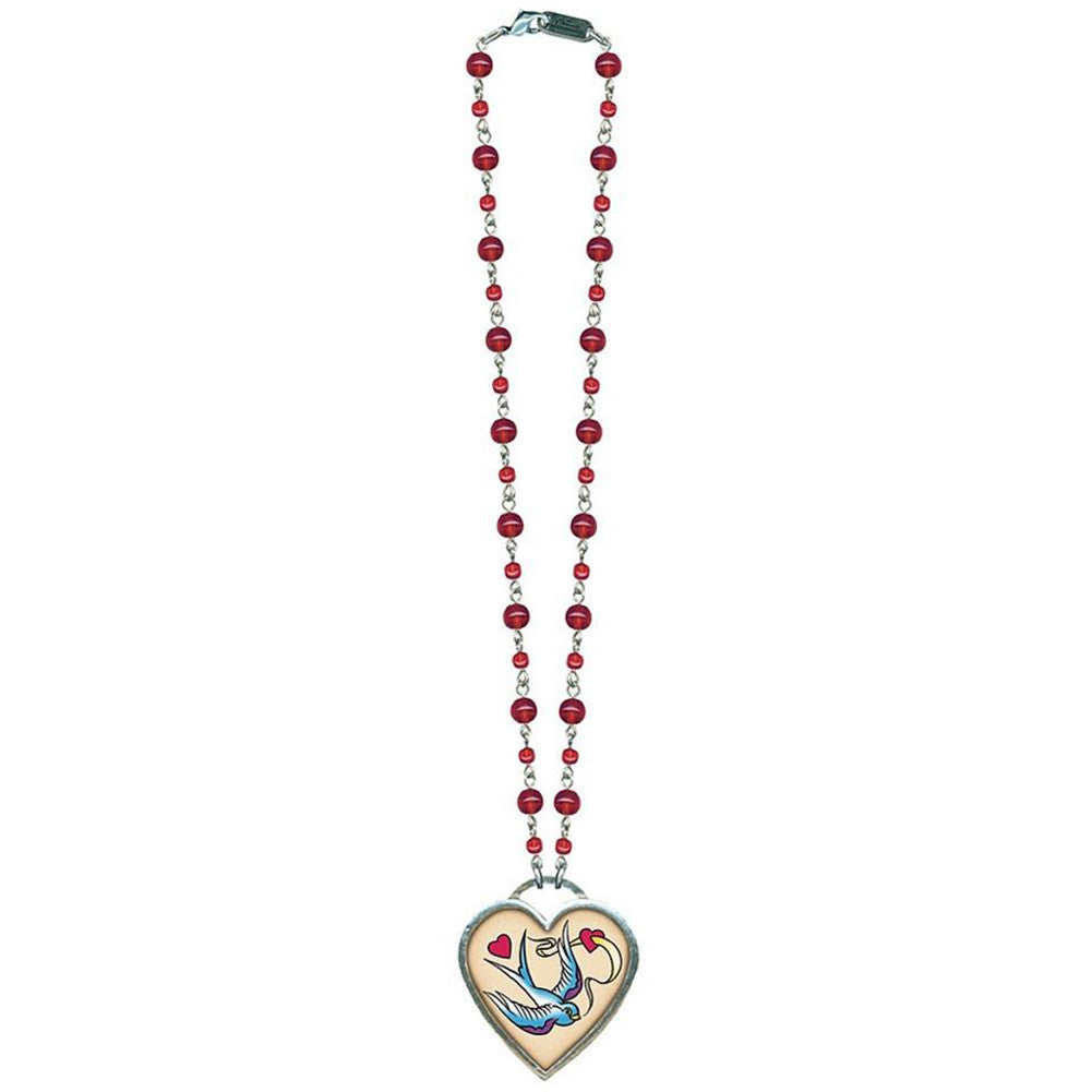 Classic Hardware Large Bird and Heart Necklace Red Beads Rockabilly Tattoo