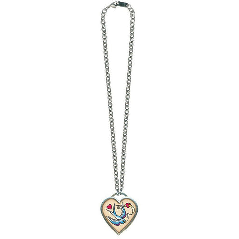 Classic Hardware Large Bird and Heart Necklace Silver Rockabilly Tattoo