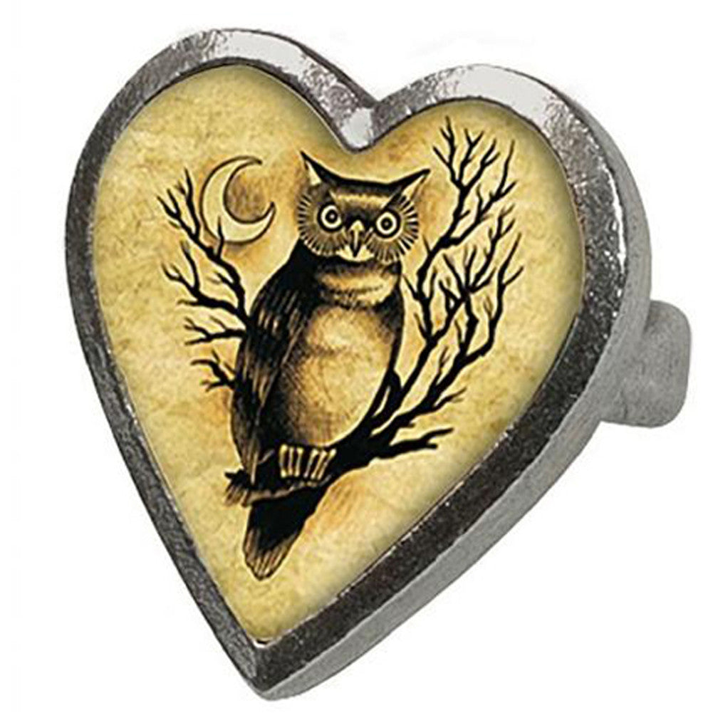 Classic Hardware Medium Owl Ring Retro Heart