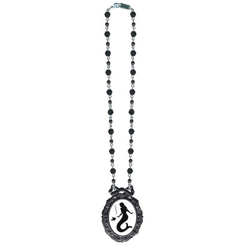 Classic Hardware Mermaid Classic Silhouette Necklace Black Beads Nautical