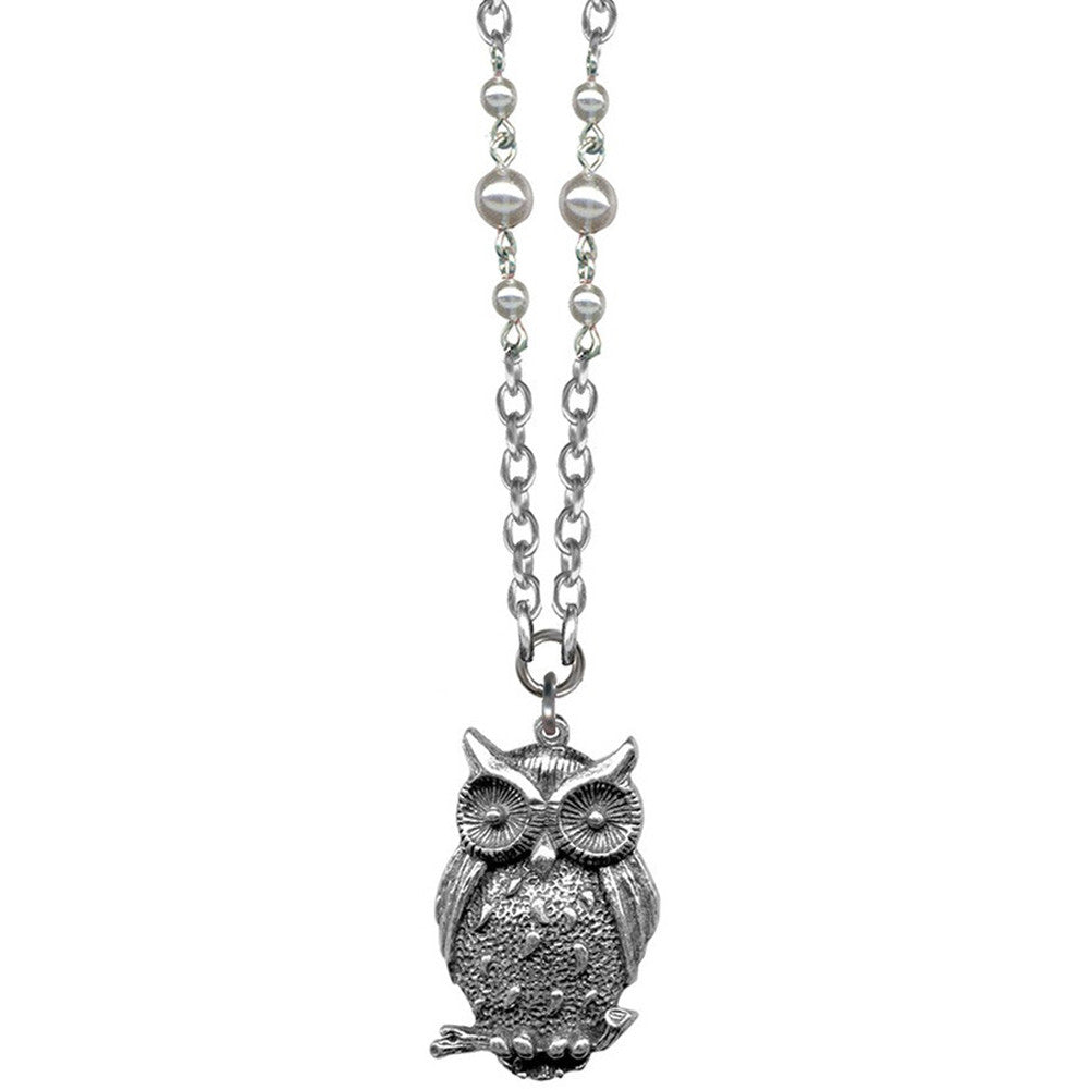 Classic Hardware Owl Branch Rockware Necklace Silver Bird