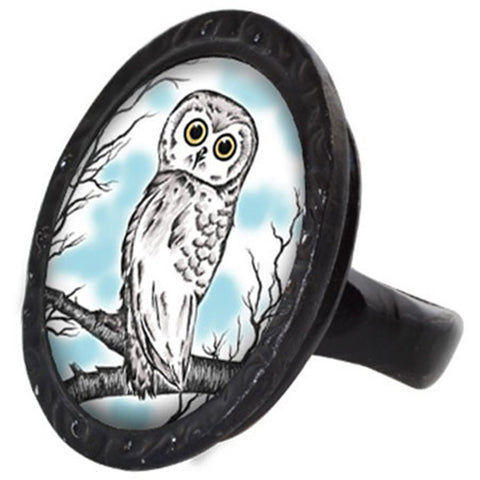 Classic Hardware Owl Victorian Oval Ring