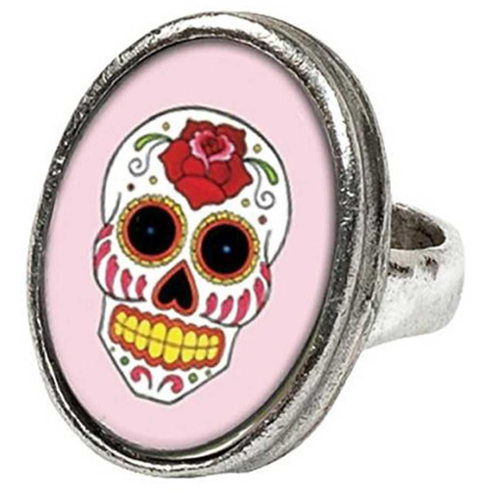 Classic Hardware Pink Sugar Skull Oval Ring Day of the Dead Tattoo