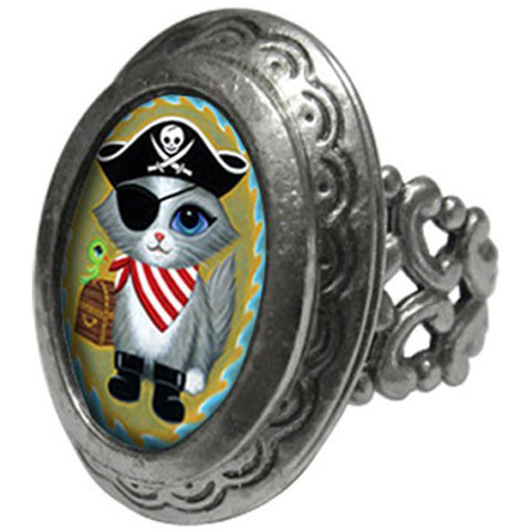 Classic Hardware Pirate Kitty Small Oval Pop Art Locket Ring Cat