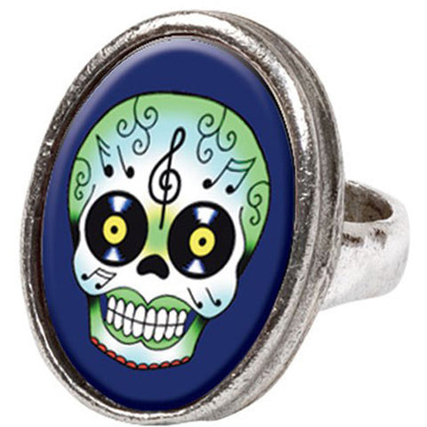 Classic Hardware Record Eyes Oval Pop Art Ring Day of the Dead Sugar Skull