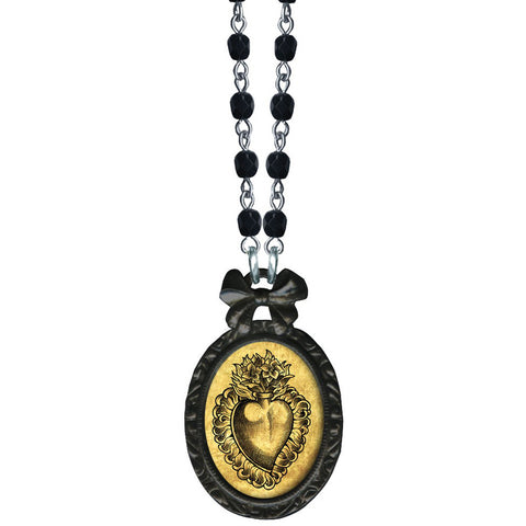 Classic Hardware Sacred Heart Victorian Oval Necklace Black Beads Tattoo Bow