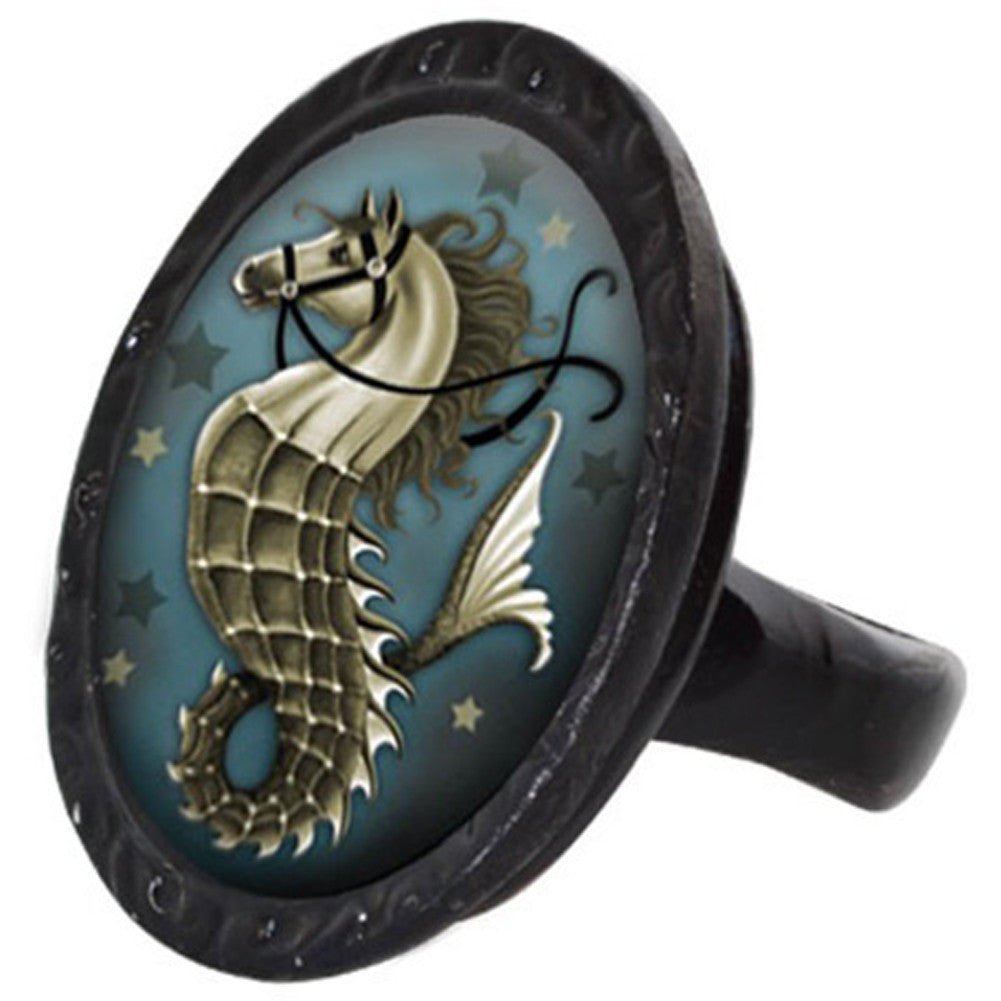 Classic Hardware Seahorse Victorian Oval Ring Nautical Sea Life