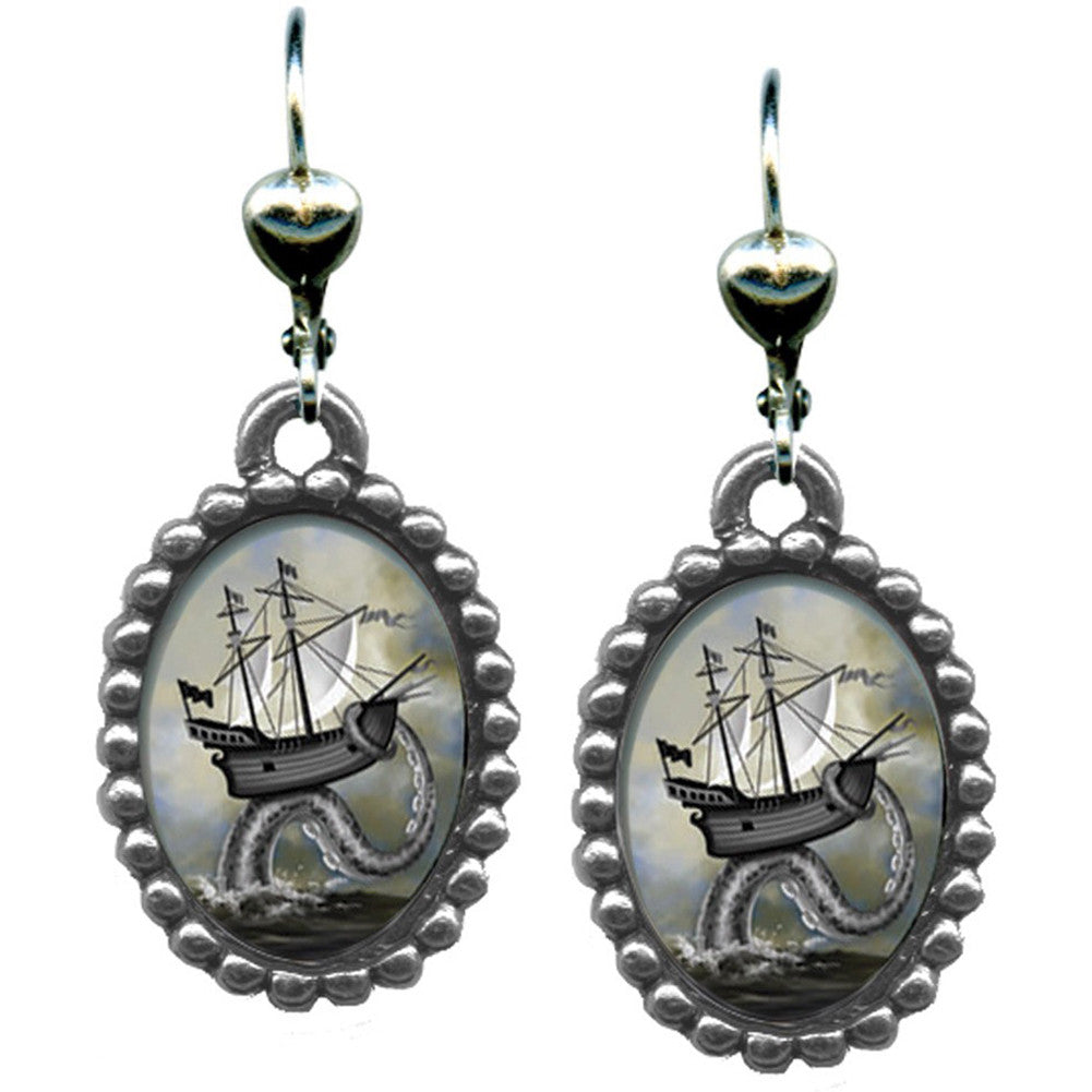 Classic Hardware Ship Earrings Nautical Kraken Sea Monster