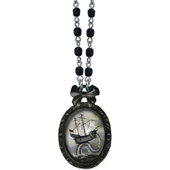 Classic Hardware Ship Victorian Oval Necklace Black Beads Bow Nautical Kraken