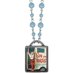 Classic Hardware Sin on Wheels Vintageware Necklace Blue Beads Retro Pinup