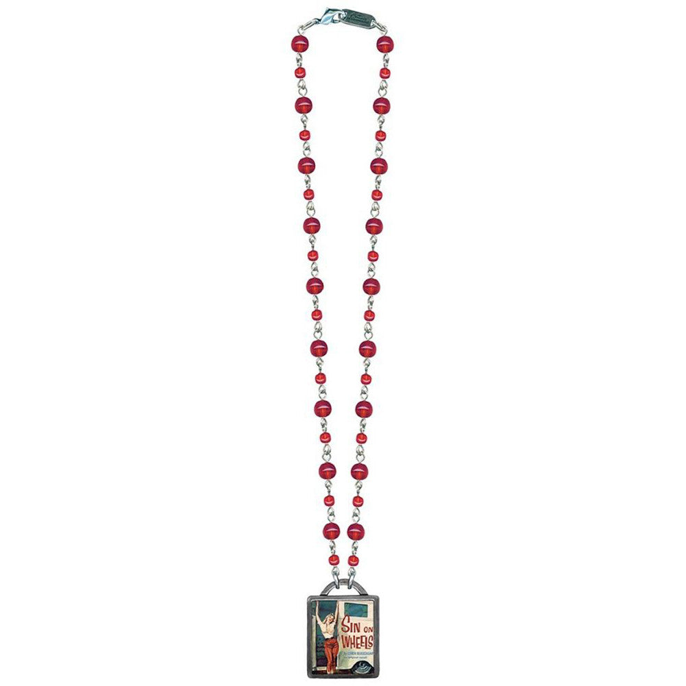Classic Hardware Sin on Wheels Vintageware Necklace Red Beads Retro Pinup