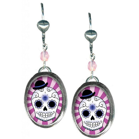 Classic Hardware Small Boy Skull Oval Earrings Pink Beads Day Of The Dead