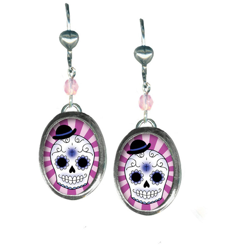 Classic Hardware Small Boy Skull Oval Pop Art Earrings Sugar Day of the Dead