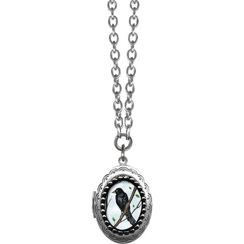 Classic Hardware Small Crow Oval Pop Art Locket Necklace Silver Bird